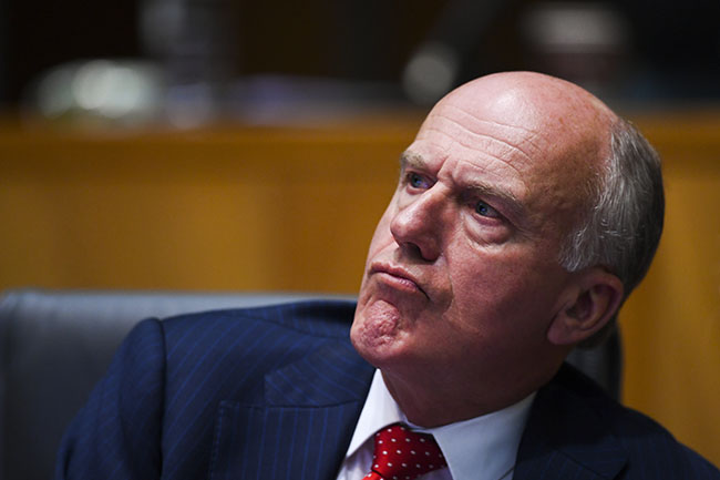 Liberal Senator Eric Abetz reacts during Senate Estimates at Parliament House in Canberra, Wednesday, March 24, 2021. (AAP Image/Lukas Coch) NO ARCHIVING
